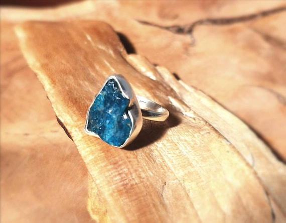 Natural Raw Apatite 925 Silver Ring Adjustable