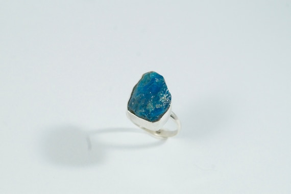 Raw Apatite Ring, Rough Apatite 925 Silver Ring, Adjustable Raw Stone Ring