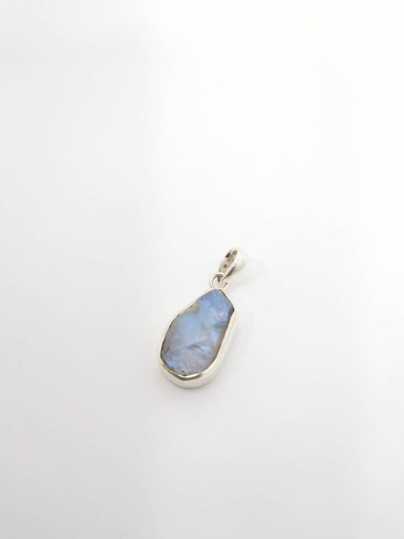 Natural Raw Rainbow Moonstone 925 Silver Pendant with Chain, Raw Moonstone Pendant