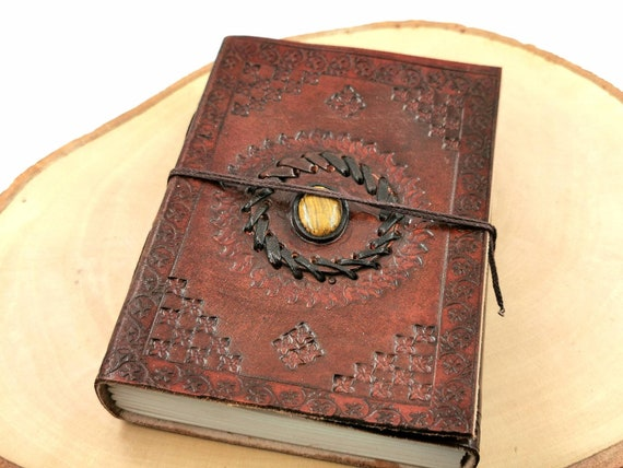 "Handmade Camel Leather Notebook with Stone ( Lapis Lazuli, Tiger's Eye), ""Sun Mandala"", 5x 7 Inch, Travel Journal"