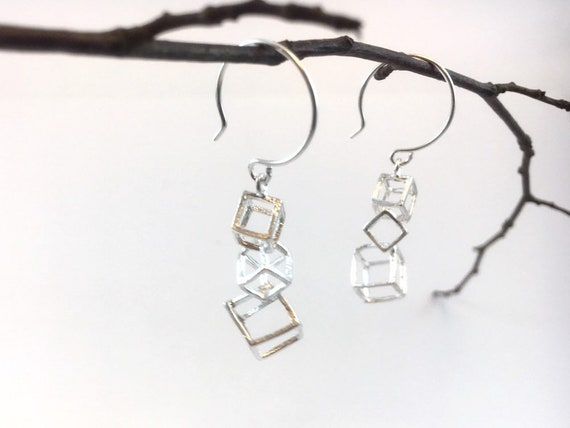 Interlocked Cube 925 Silver Earrings