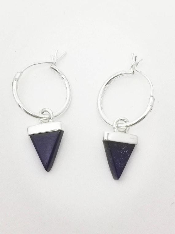 925 Silver Hoop Earrings with Triangular Stone, Lapislazuli, Tigereye, Moonstone, Labradorite, Elegant Hoop Earrings