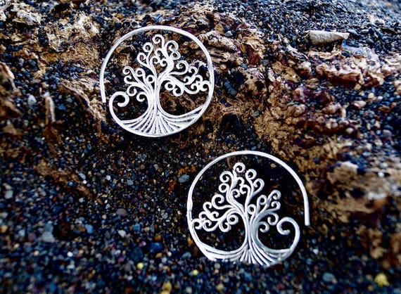 "Boho Spiral Earrings ""Mystic Tree"" Silver"