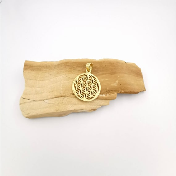 Flower of Life Pendant 925 Silver 18k Gold Plated, Golden Flower of Life Pendant, One Inch Diameter Flower of Life Pendant, Sacred Geometry