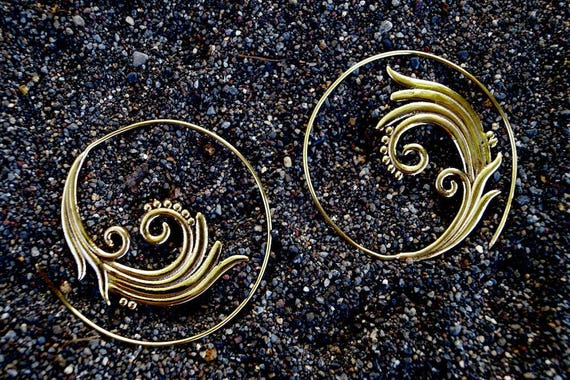 "Boho Spiral Earrings ""Spiral Blossom"" Brass"