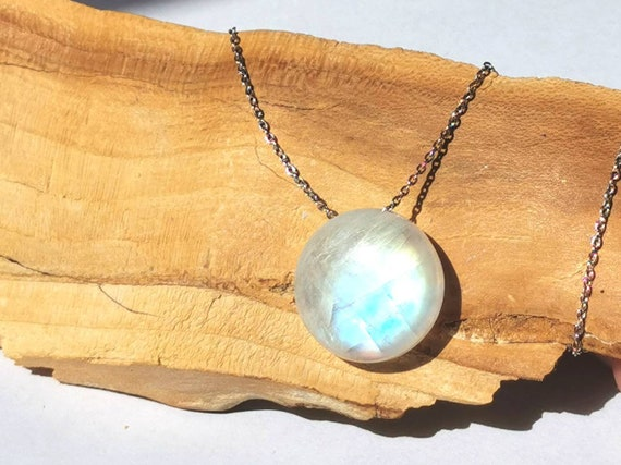 Circular Rainbow Moonstone Charm on 925 Silver Chain, Floating Rainbow Moonstone Necklace, Drilled Stone Necklace, Chain Through Stone Charm