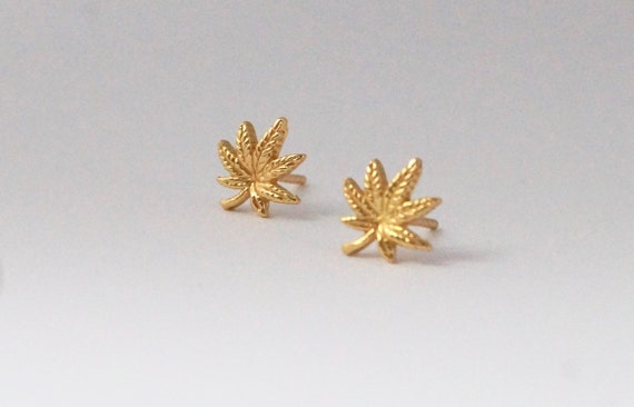 Cannabis Leaf Studs 925 Silver/Gold Plated, Marihuana Leaf Earrings, Weed Studs,