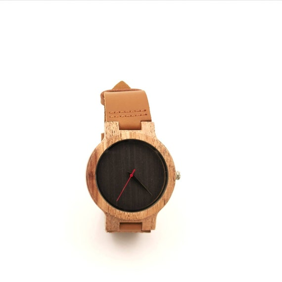 Bamboo Watch for Men and Women, Bamboo Watch with Black Wooden Dial