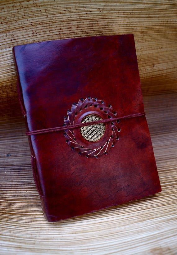 Handmade Camel Leather Notebook with Flower of Life, 5x7 Inches