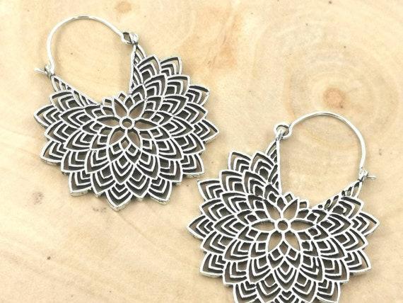 Large Mandala Hoop Earrings Silver