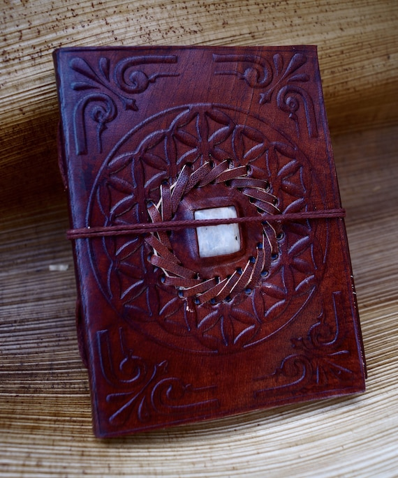 Handmade Camel Leather Notebook with Stone (Moonstone,Chrysocolla,Lapislazuli,Obsidian,Labradorite, Tiger's Eye, Malachite) 4,5x6 Inches