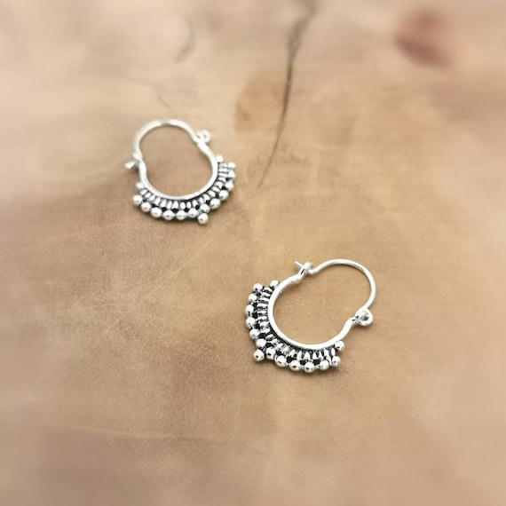 925 Silver Oriental Boho Hoop Earrings