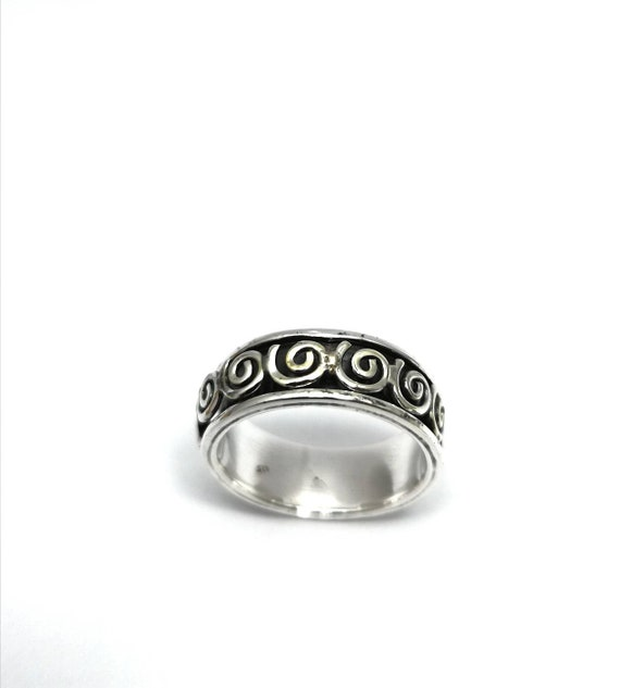 Spinning Spiral 925 Silver Spinning Ring for Men, Meditation Ring for Men, Buddhist Ring