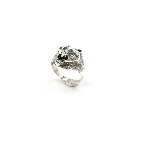 925 Silver Wolf Head Ring, Animal Head Ring for Men and Women