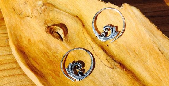 """Boho Spiral Earrings """"Little Spiral Blossom"""" Silver Plated Brass"""