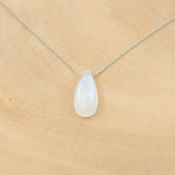Rainbow Moonstone Drop Charm on 925 Silver Chain, Floating Rainbow Moonstone Necklace, Drilled Stone Necklace, Chain Through Stone Charm