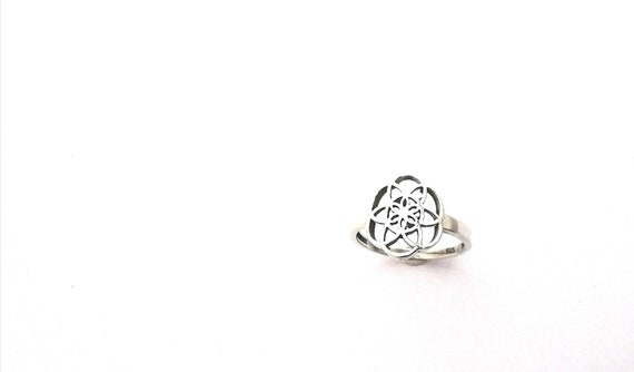 Seed of Life Ring 925 Silver/18K Gold Plated, Sacred Geometry Ring, Boho Seed of Life
