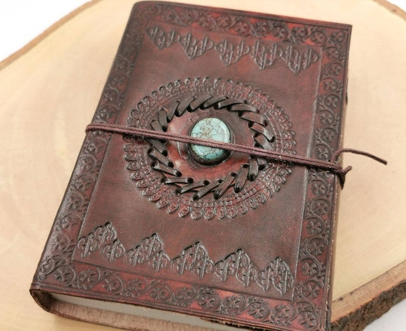 "Handmade Camel Leather Notebook with Stone ( Turquoise, Tiger's Eye), ""Inca Sun"", 5x 7 Inch, Travel Journal"