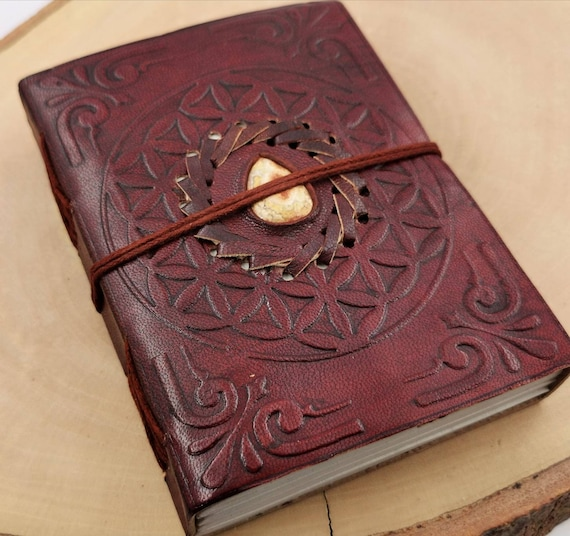 "Handmade Camel Leather Notebook with Stone (Picture Jasper, Moss Agate, Tiger's Eye), ""Flower of Life"" 4x6 Inches"