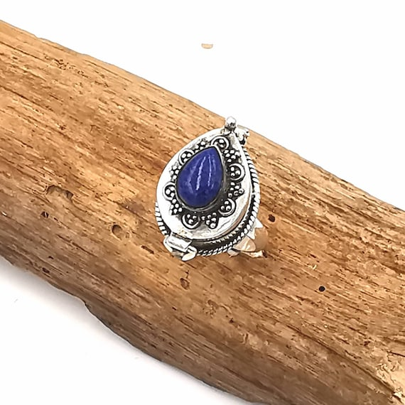 Roman Poison Ring 925 Silver with Lapislazuli, Ring with Secret Chamber, Locket Ring