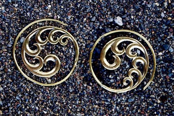 "Boho Spiral Earrings ""Wild Ocean Spiral"" Brass 30mm/ 1.18 Inches"