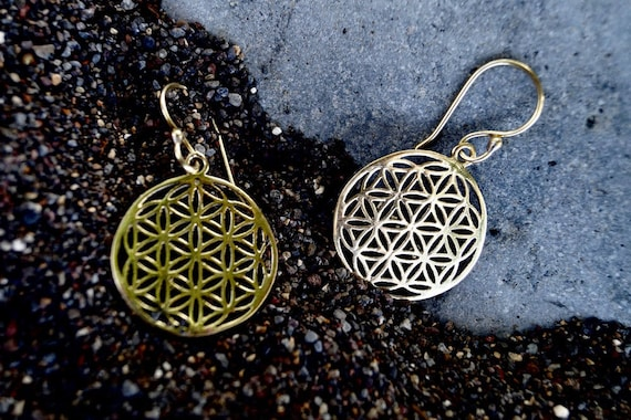 Flower of Life Earrings Brass Small