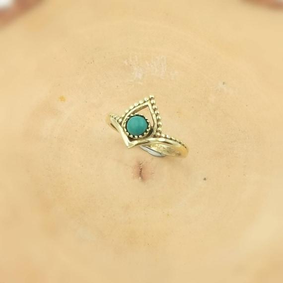 Golden Boho Chevron Ring with Stone