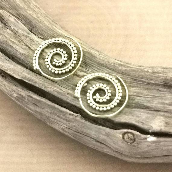 Golden Boho Spiral Earrings Brass, Tiny Spiral Earrings