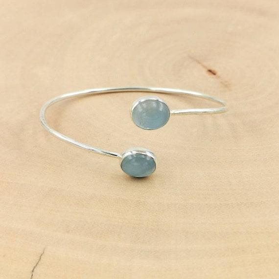 Aquamarine 925 Silver Bracelet, Aquamarine Bangle, Two Stone Open Cuff Bracelet, Adjustable Aquamarine Bracelet