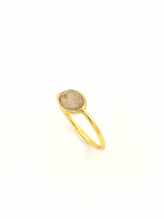 Elegant Faceted Oval Stone Ring 18k Gold Plated 925 Silver, Gold Plated Ring with Oval Labradorite/Moonstone