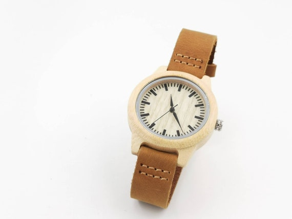 Bamboo Watch for Men and Women, Wood Watch with Light Bamboo Dial