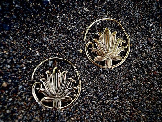 "Boho Spiral Earrings ""Mystic Lotus"" Brass"
