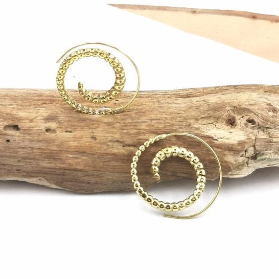 Vintage Boho Spiral Earrings Brass Medium Size, Larva Pattern