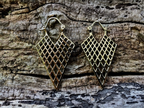 "Boho Earrings ""Triangle Hoop"" Brass"