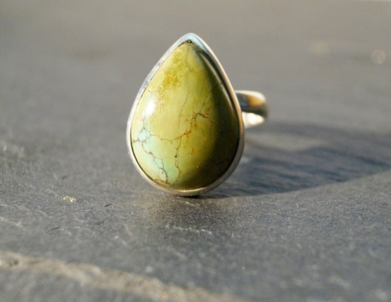 Silver Turquoise Drop ring