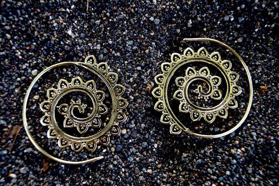 "Boho Spiral Earrings "" Sunflower Curl"" Brass/ Silver Plated"