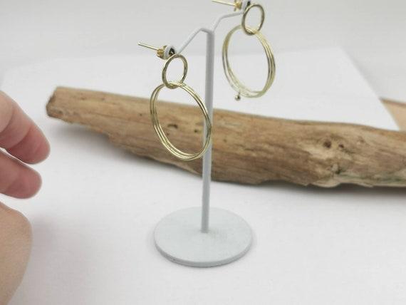 Multiple Loop Vintage Stud Earrings Brass, 1960s Gold Earrings