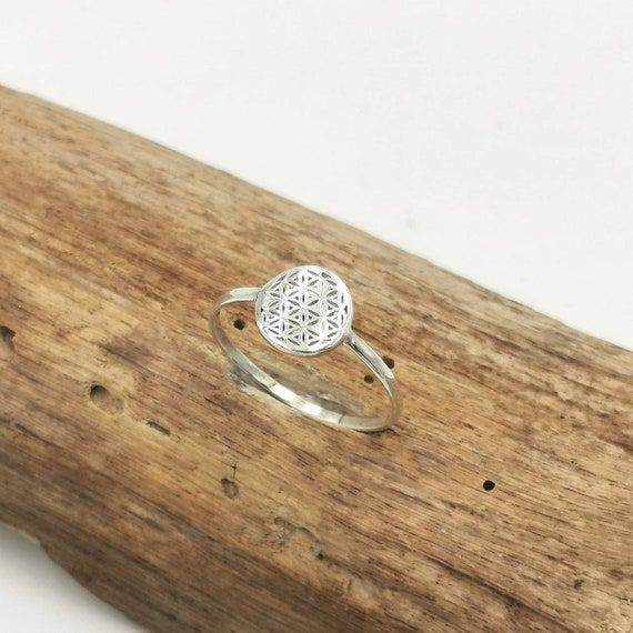 Flower of Life Ring 925 Silver, Small and Medium Size