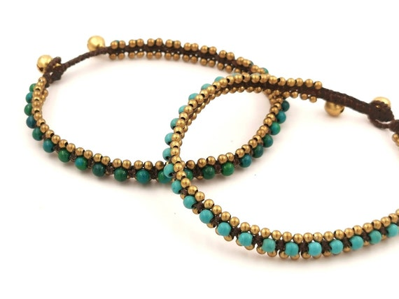 Handmade Brass Anklet with Stone Beads