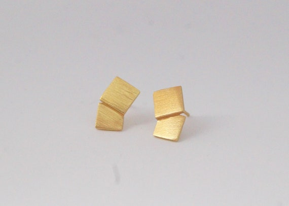 Double Square Minimalist Studs 925 Silver/18K Gold Plated