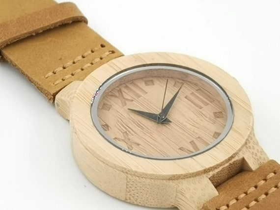 Bamboo Watch with Roman Numbers on Dial, Small Bamboo Watch