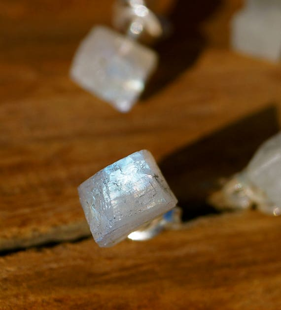 Rough Rainbow Moonstone Studs Silver, Moonstone Studs, Silver Studs