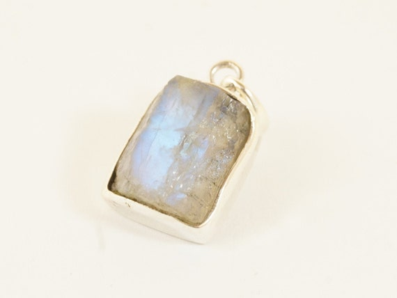 Raw Rainbow Moonstone Pendant 925 Silver with Chain, Raw Moonstone Pendant