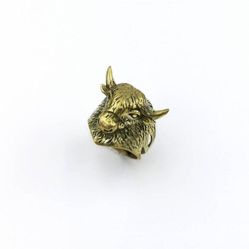 Buffalo Brass Ring Animal Head Ring Golden Men Ring