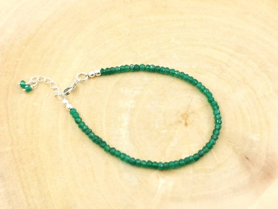 Thin Faceted Green Onyx Bead Bracelet 925 Silver with Charm