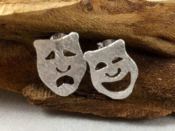 Theater Mask Silver Studs