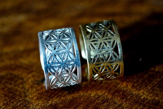 Flower of Life Ring Brass/ Silver coated, Adjustable Ring for Men and Women, Sacred Geometry Ring