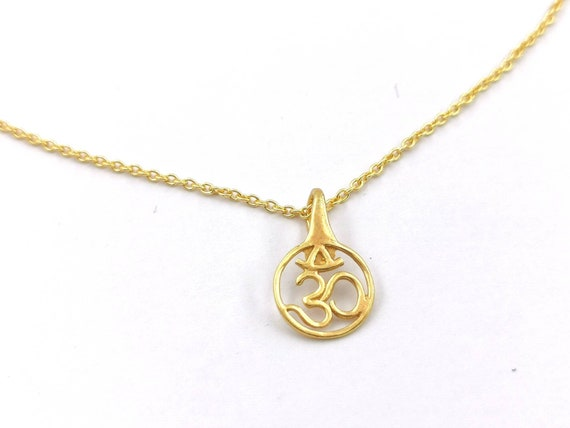Om Pendant 18k Gold Plated 925 Silver with Chain, Om Charm Gold