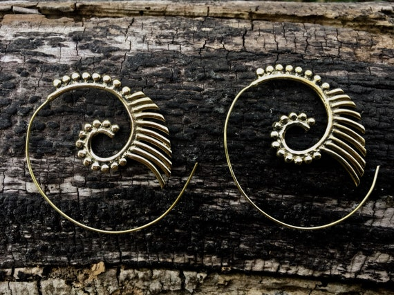 "Boho Spiral Earrings ""Egyptian Spiral"" Brass"