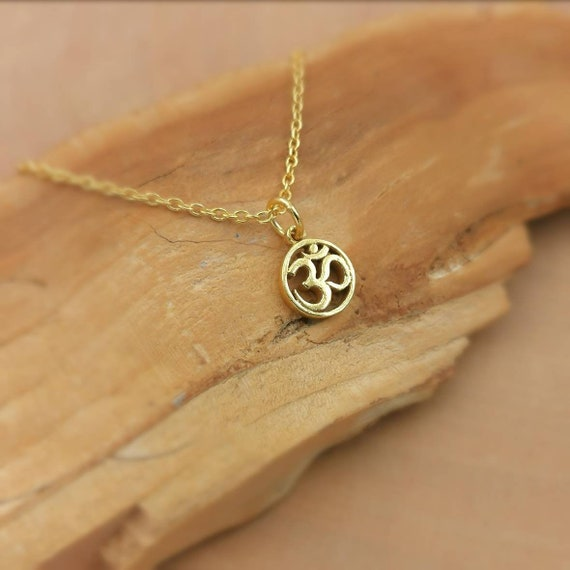 Tiny Circular Om Charm 18k Gold Plated 925 Silver with Chain